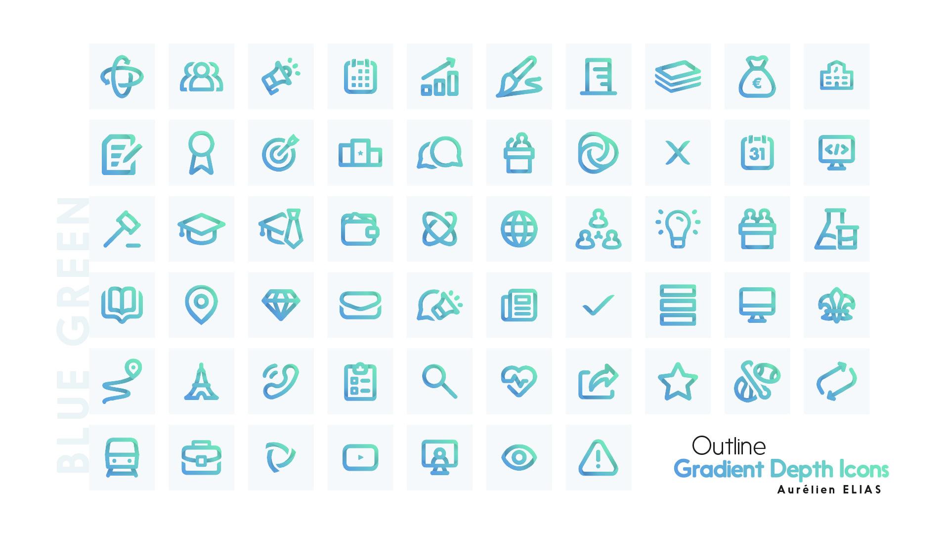 White on color - Outline Gradient Depth Icons by Aurélien Elias