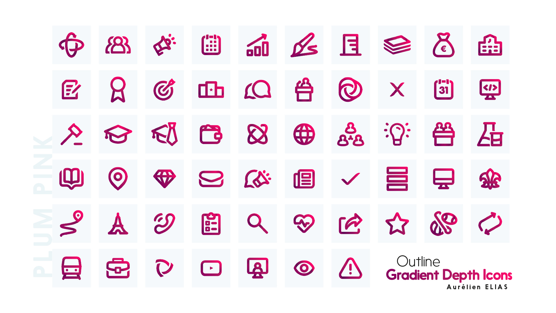 Yellow orange icons - Outline Gradient Depth Icons by Aurélien Elias