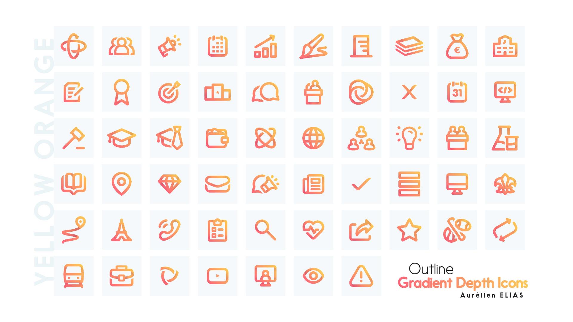 Blue green icons - Outline Gradient Depth Icons by Aurélien Elias