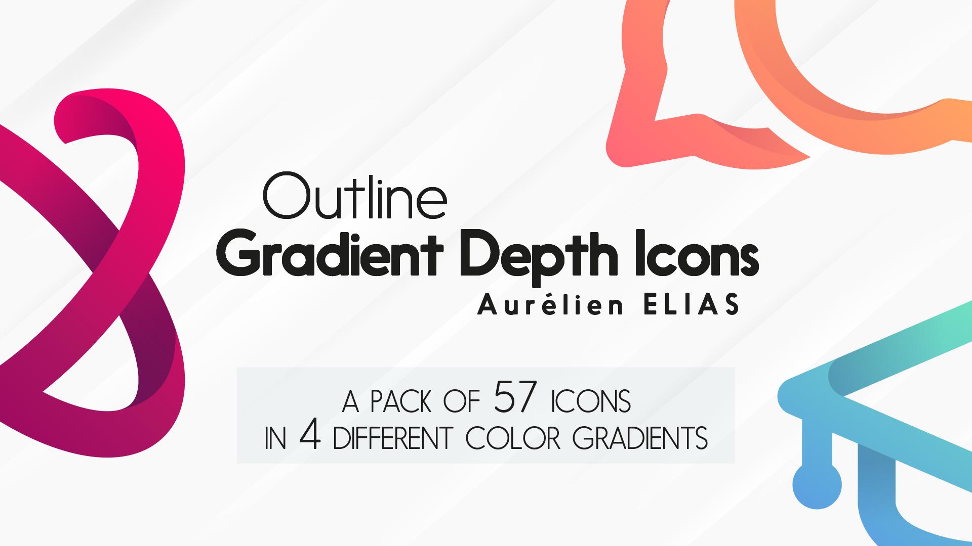 Outline Gradient Depth Icons Pack by Aurélien Elias