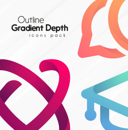 Outline Gradient Depth Icons pack