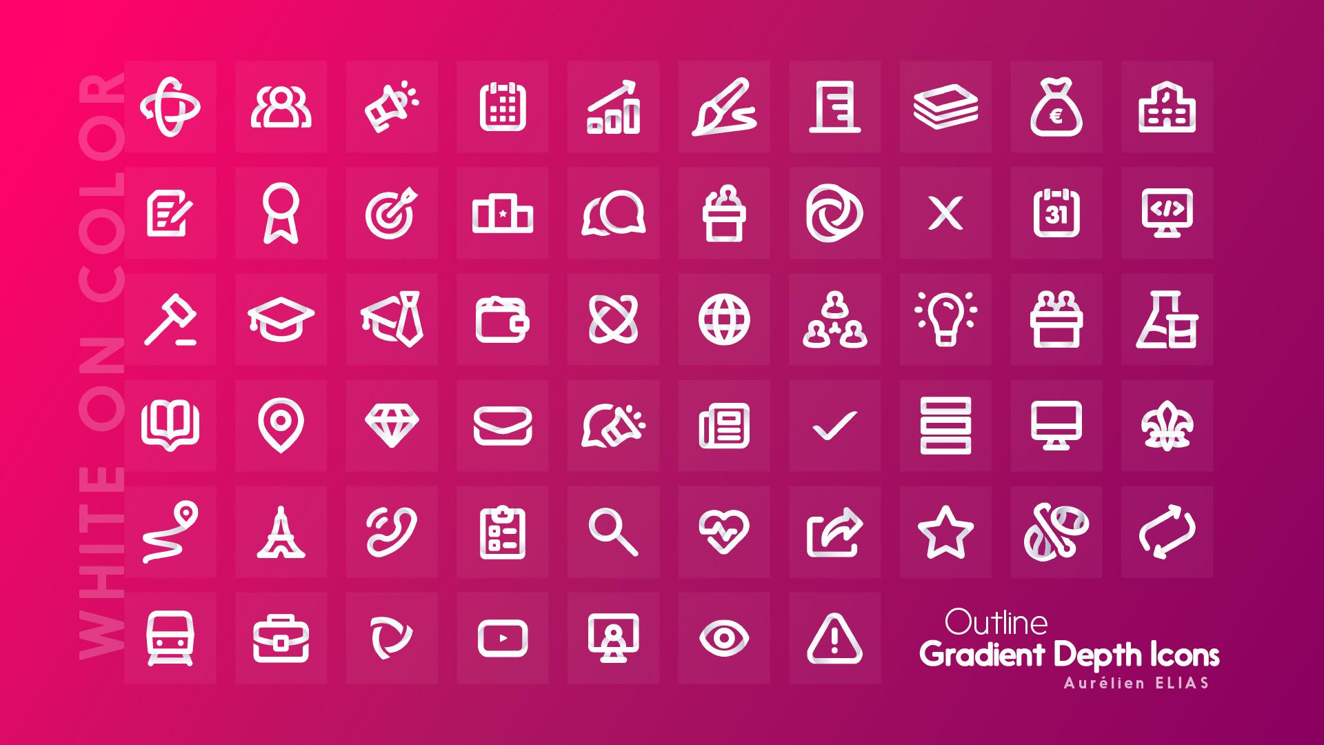 Plum pink icons - Outline Gradient Depth Icons by Aurélien Elias